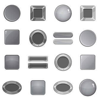 Blank web buttons icons set, monochrome style