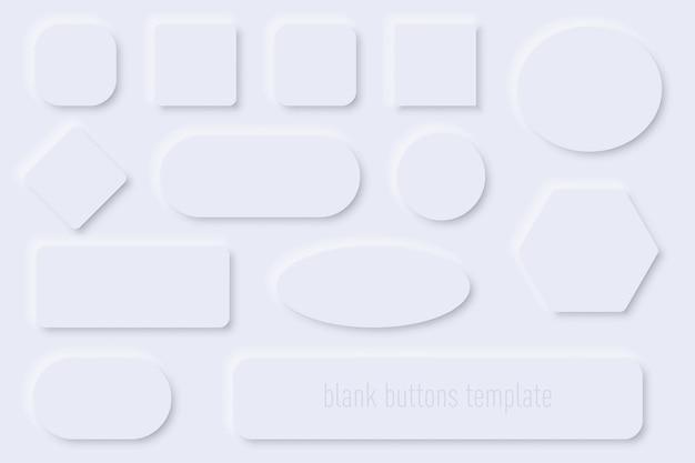 Коллекция шаблонов пустых веб-кнопок с тенью в сером