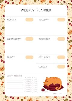 Blank weekly planner for children with cute cat sleeping on pillow