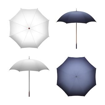 空白の白と黒の傘のイラスト。雨や太陽から保護するためのリアルな日傘
