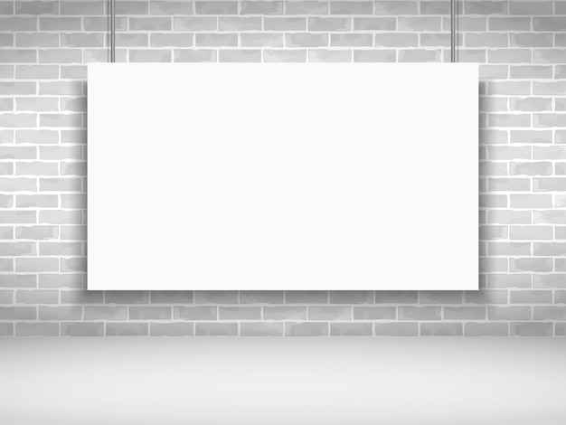 Blank white banner on brick wall