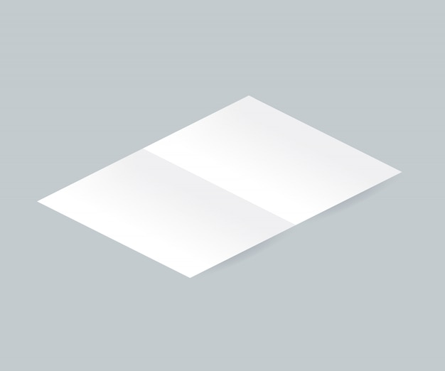 Blank white bi-fold brochure leaflet realistic illustration