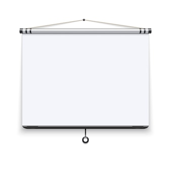 Blank white board, meeting projector screen, presentation display illustration.