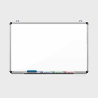 Blank white board with colored markers. billboard and business, education and empty space