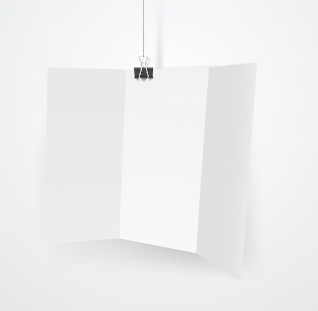 Blank white booklet on a hook. vector mockup