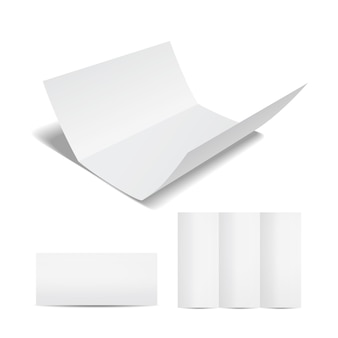 Blank white brochure or flyer template with a trifold sheet of paper in the open  closed and partially open format on a white for your marketing and advertising
