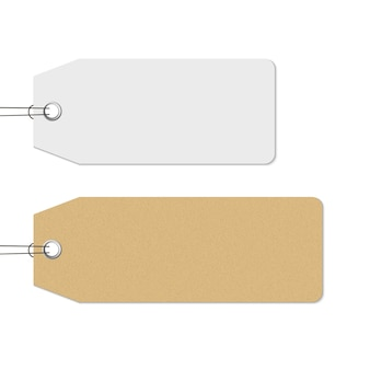 Blank white and brown price tags hanging, realistic. craft paper texture tag