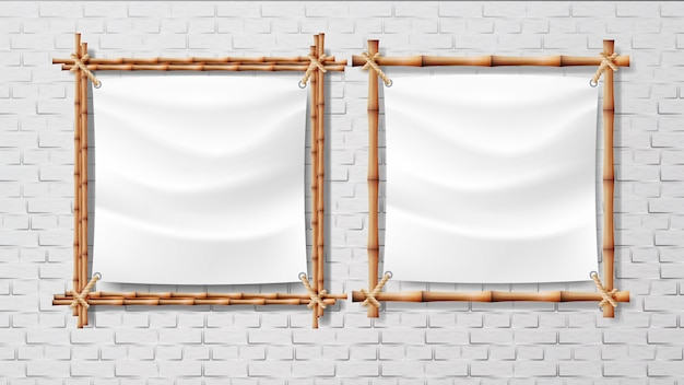 Blank white canvas in bamboo frames set