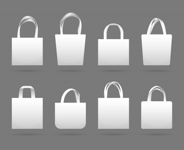 Blank white canvas fabric shopping bag  templates. canvas fabric eco bag market with handle