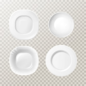 Blank white ceramic plates mockup set. realistic porcelain round dishes for dining