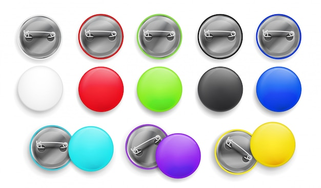 Blank white and colorful pin button. 3d realistic