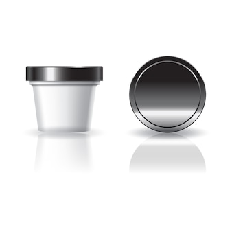 Blank white cosmetic or food round cup with black lid.