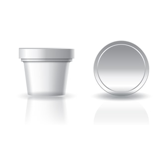 Blank white cosmetic or food round cup with lid.