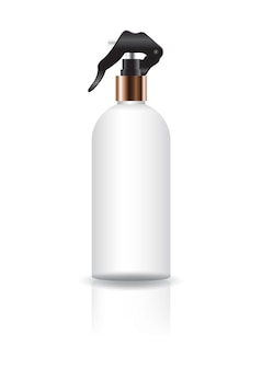 Blank white cosmetic round bottle with spray head.