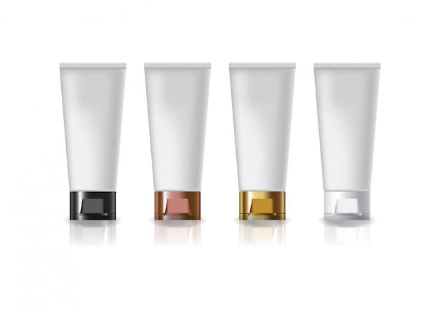 아름다움 또는 건강 제품에 대한 4 색 캡 뚜껑 빈 흰색 화장품 튜브.