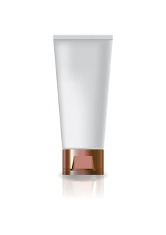 Blank white cosmetic tube with copper cap lid.