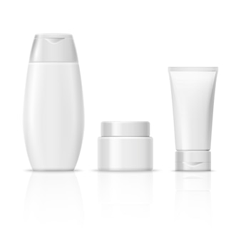 Blank white cosmetics product packaging set, cream tube, shampoo bottle, cream container