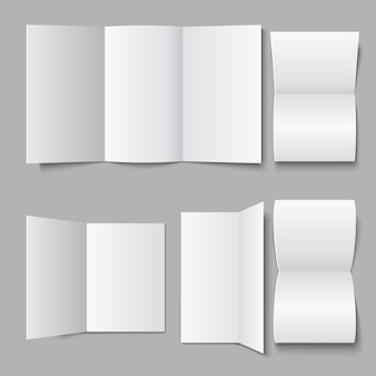 Blank white document trifold leaflet. 3d realistic advertising pamphlet brochure.
