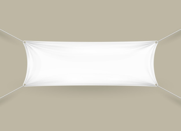 Blank white fabric rectangular horizontal banner with ropes attached to each corner