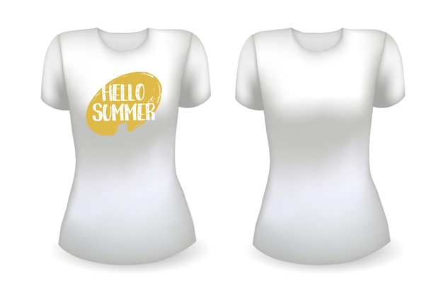 Blank white female t shirt realistic template and white t shirt with label hello summer badge vector