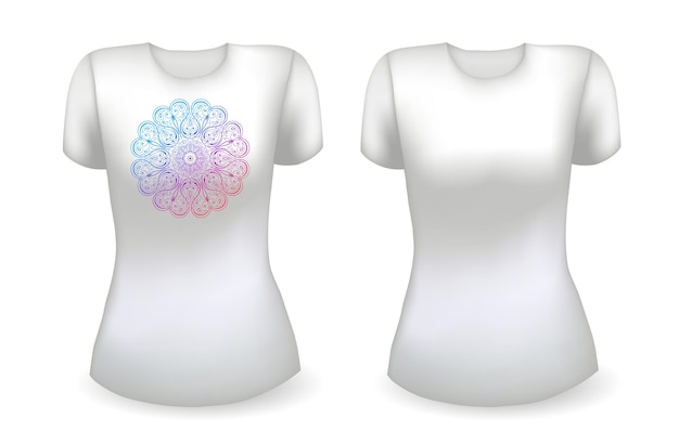 Blank white female t shirt realistic template and white t shirt with mandala hello summer badge vector