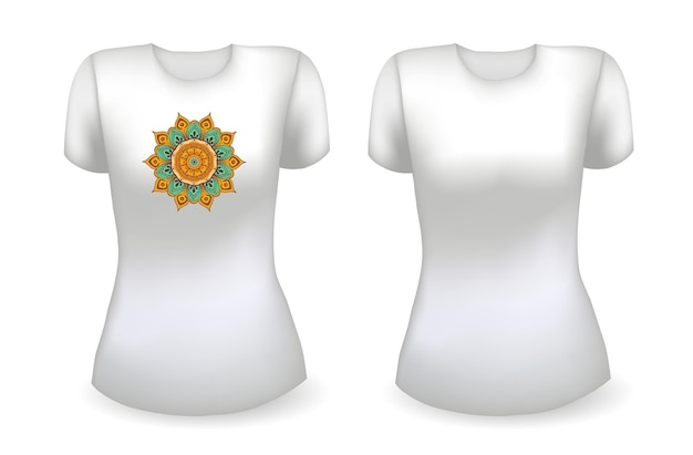 Blank white female t shirt realistic template and white t shirt with mandala vector