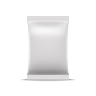 Blank white foil bag mockup. realistic sachet bag