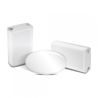 空白の白いホイルまたは紙箱の石鹸。