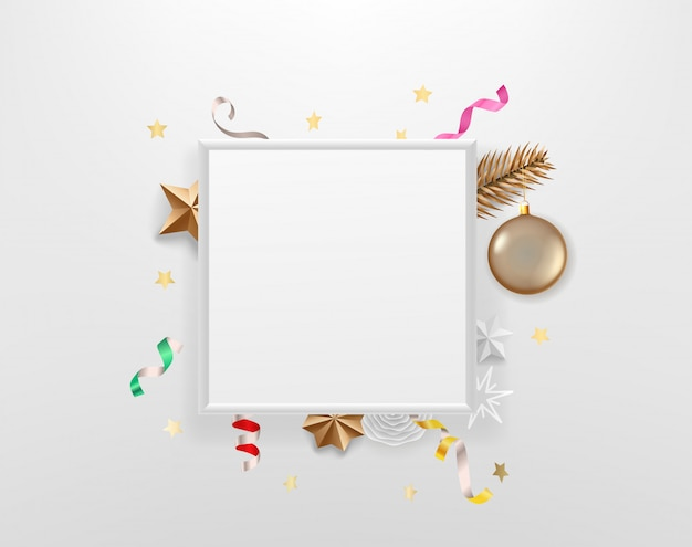 Blank white frame with holiday accesories. template for a text