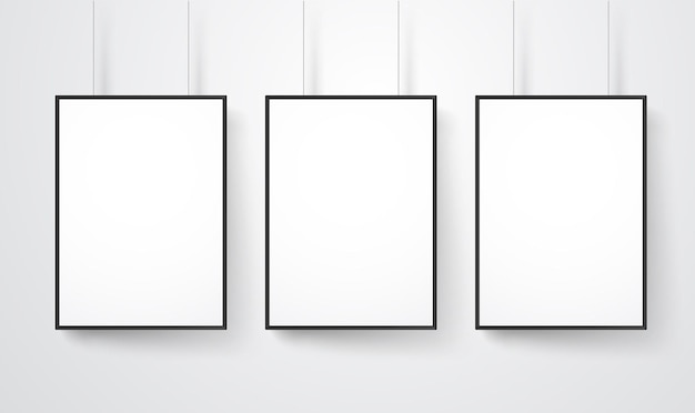 벽 벡터 모형에 빈 흰색 프레임입니다. 콘텐츠 준비