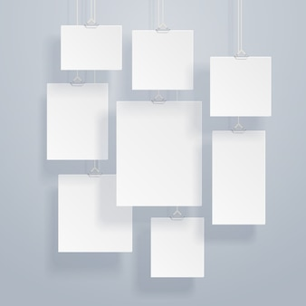 Blank white image and photo frames on wall vector illustration
