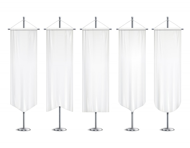 Blank white long mock up pennants flags  banners hanging on pole stand support realistic set  illustration