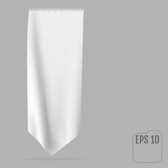 Blank white long pennant flag