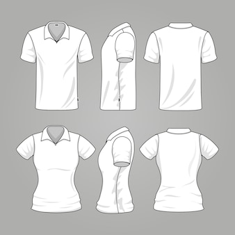 Blank white mens and womens t-shirt outline vector. template of t-shirt for woman and man, illustrat