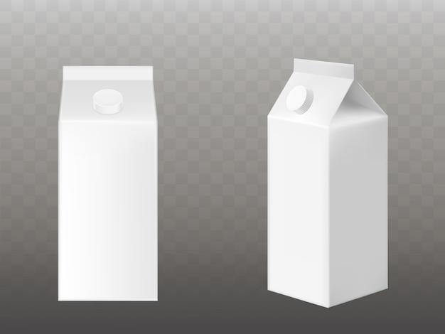 Blank white milk or juice packaging isolated