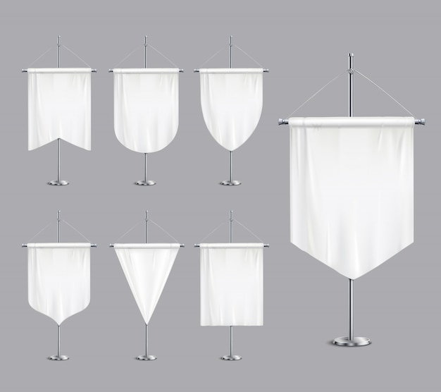 Пустой белый макет вымпелы флаги сужающиеся баннеры на подставке полюса опоры реалистичный набор иллюстрации
