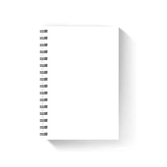Blank white notebook cover vector mockup isolated on white
