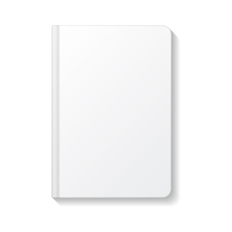 Blank white notebook rounded edges top view   template.