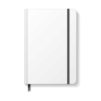 Blank white notebook with black elastic and ribbon bookmark mockup template.