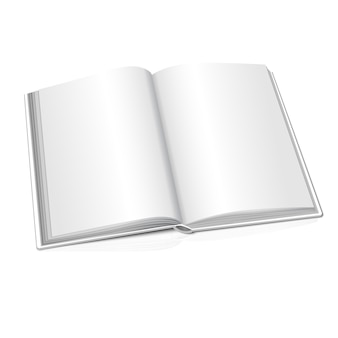 Blank white opened realistic book on white background