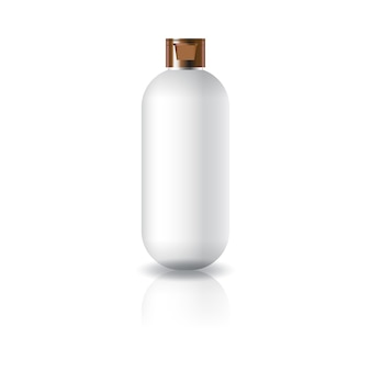 Blank white oval round cosmetic bottle with cap lid.