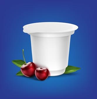 Пустой белый контейнер для упаковки йогурта