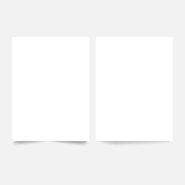 Blank white paper banner sheets with soft shadow.