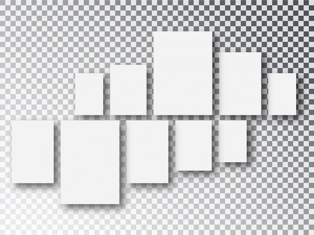 Blank white  paper canvas or photo frames isolated on transparent