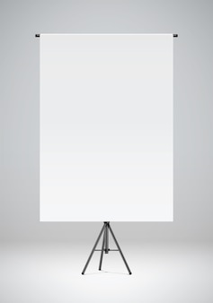 Blank white paper hanging on a black stand photo studio backdrop realistic vector illustration