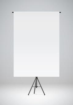 Чистый белый лист бумаги висит на черной подставке фотостудия фон реалистичные векторные иллюстрации