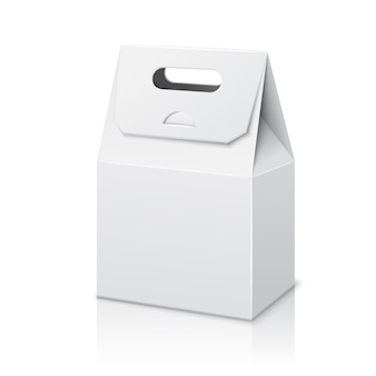 Пустой белый бумажный пакет для упаковки с ручкой