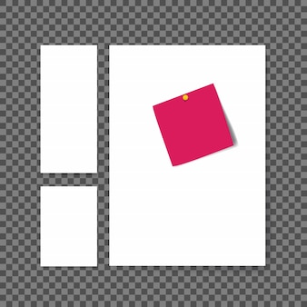 Blank white paper sheets with note sticker on transparent background.