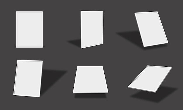 さまざまなビューと角度で空白の白いフォトフレームモックアップコレクション