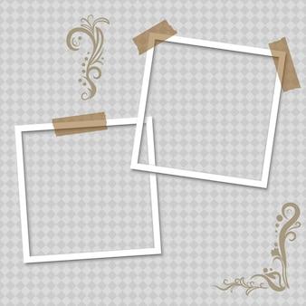 粘着テープ付きの空白の白いフォトフレーム、リアルな紙のインスタント写真。シャドウ効果のある空のフォトフレーム。写実的なモックアップ。レトロなテンプレートデザイン。ベクター